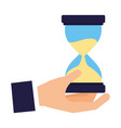 hand holding hourglass time business vector image vector image