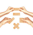 hands holding medical plasters realistic set vector image