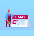 happy 1 may labor day poster with builder or vector image vector image