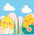 happy easter little chickens in eggshells nature vector image vector image