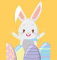 happy rabbit eggs easter vector image vector image