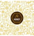 Honey wrapping background with bees and vector image vector image