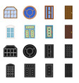 isolated object of door and front logo set of vector image vector image