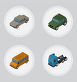Isometric automobile set of armored autobus auto