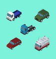 isometric transport set of car lorry truck and vector image vector image
