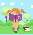 little girl reading interesting book in park vector image