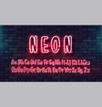 neon futuristic hand font luminous tube alphabet vector image vector image