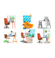 office workplace interior set interior of vector image