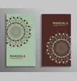 ornamental mandala flyers in green brown color vector image