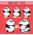 Panda sweet tooth eating cake character animation vector image vector image