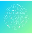 Pneumonia linear icon set vector image vector image