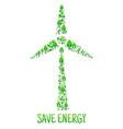 Save Energy Eco environment wind turbine vector image vector image