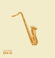 saxophone icon sign flat icon with scuffed effect vector image