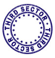 scratched textured third sector round stamp seal vector image vector image