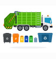 set garbage truck and different types of vector image vector image