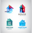 set of origami and faceted house logos vector image vector image