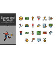 soccer and football icons filled outline design vector image