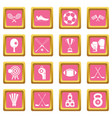 sport equipment icons pink vector image vector image