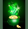 st patricks day symbol green pot vector image