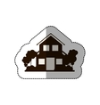 sticker silhouette house of two floors with trees vector image vector image