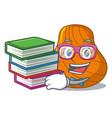 student with book hard shell mascot cartoon vector image vector image