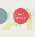 summer retro grunge poster with hands movement vector image vector image