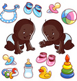 Two African American toddler in diapers with baby vector image vector image