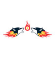 two fire wolf logo concept icon vector image vector image