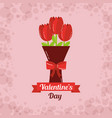 valentines day card bouquet flowers bow decoration vector image