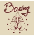 Vintage label with old boxing gloves vector image vector image