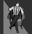 vintage man with a cane sitting on armchair vector image vector image
