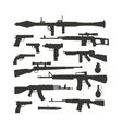 Weapon collection different military automatic gun vector image vector image