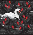white swan in black family vector image vector image