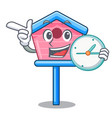 with clock character cute wooden bird house in vector image