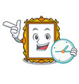 with clock picture frame character cartoon vector image