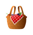 wood basket with fresh vegetables for bbq or vector image