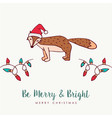 christmas santa hat fox cartoon greeting card vector image