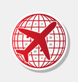 globe and plane travel sign new year vector image
