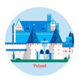 malbork castle in polandtravel poland landmark vector image