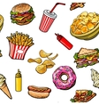 Sketch hand drawn fast food seamless pattern on vector image