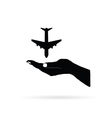 aircraft in hand black vector image vector image