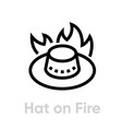 australian hat on fire abstract logo icon vector image