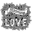blooming love romantic vintage art hand vector image vector image