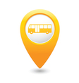 bus icon yellow map pointer vector image vector image