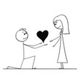 cartoon of man on knees giving heart to his woman vector image vector image