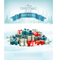 christmas holiday background with presents and a vector image vector image