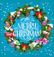 christmas holiday fir wreath vector image vector image