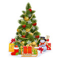 christmas tree with sledge vector image vector image