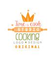 cooking studio time to cook logo design emblem vector image vector image