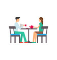 couple man and woman sit at table drink tea vector image vector image